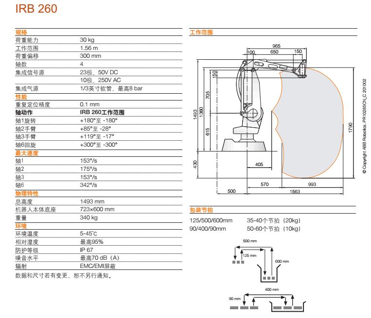 ABB机器人,IRB 260资料